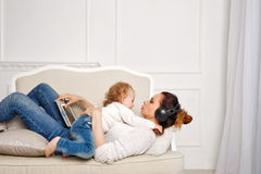 Mother and little daughter. Family Rest Stock Photo