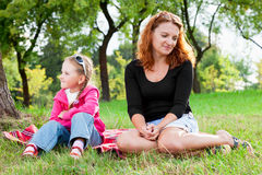 Mother and little daughter having a quarrel Royalty Free Stock Photos