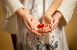Mother and little daughter holding red heart in hands Royalty Free Stock Photo