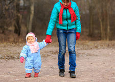Mother and little daughter learning to walk in Royalty Free Stock Images