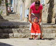 Mother and little daughter in old town Dubrovnik Stock Photography