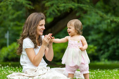 Mother and little daughter in the park Stock Photography