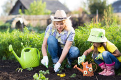Mother and little daughter planting vegetable in Stock Photography