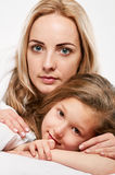 Mother and little daughter portrait close Stock Photography