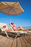 Mother with little daughter on resort Royalty Free Stock Images