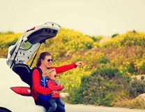 Mother and little daughter travel by car Royalty Free Stock Photo