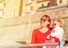 Mother and little daughter travel in Malta Stock Photography
