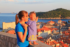 Mother and little daughter on vacation in Europe Stock Photos