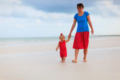 Mother and little daughter walking on the beach Royalty Free Stock Photo