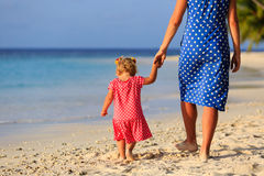 Mother and little daughter walking on beach. Mother and little daughter walking on tropical beach Stock Photography