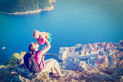 Mother and little daugther travel in Europe Royalty Free Stock Photos