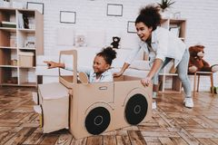 Mother and Little Girl. Drive with Little Girl. Mother and Daughter with Like a Car. Mother and Daughter Test Car. Smile Mother and Smile Daughter Play Together stock image