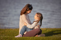 Mother and little girl enjoying time together outdoor royalty free stock image