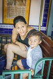 Mother and little girl in Europa Park in Rust, Germany. Royalty Free Stock Photos