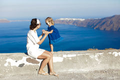 Mother and little girl in european vacation in Stock Image