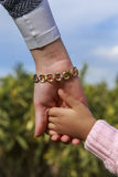Mother and little girl's hands in green garden Stock Image