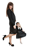 Mother with little girl standing on one leg Stock Photography