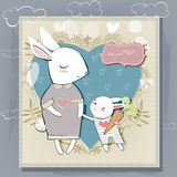 Mother and little kid hare vector postcard for the mother's day. Stock Image