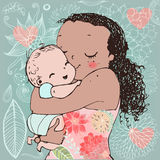 Mother and little kid vector postcard for the mother's day. Stock Image