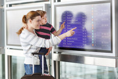 Mother and little son at the airport Royalty Free Stock Image