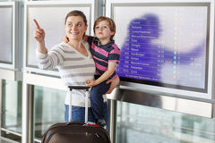 Mother and little son at the airport Stock Image