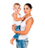 Mother with little son in her arms Royalty Free Stock Photos