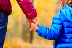 Mother and little son holding hands in autumn Royalty Free Stock Images