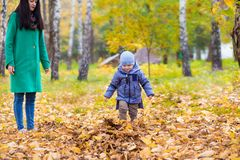 Mother with little son in park on background of autumn leaves Stock Image