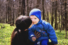 Mother and little son in park or forest. Outdoors Royalty Free Stock Image