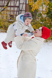 Mother and little toddler boy  on winter day Stock Photos