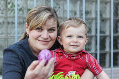 Mother and little toddler son on Easter Royalty Free Stock Photography
