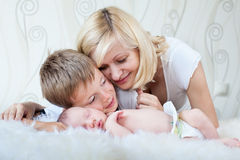 Mother looking at her sleeping baby Royalty Free Stock Photography