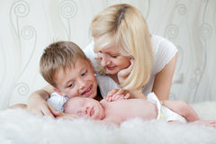 Mother looking at her sleeping baby Royalty Free Stock Images