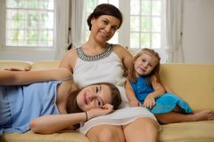 Mother of lovely sisters Stock Image