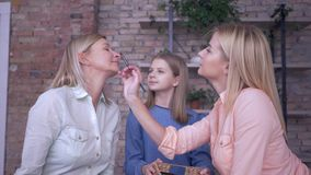 Mother makeup, joyful girls daughters do professional make up for stylish mum and put cosmetics on face with special. Brushes during fun leisure at home on bed stock video footage