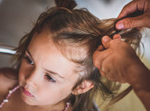 Mother is making of braids on little daughter's head. Stock Photography