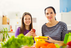 Mother making breakfast for her children in the morning and a sn Royalty Free Stock Images
