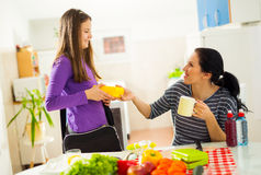 Mother making breakfast for her children in the morning and a sn Stock Photography