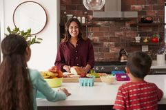 Mother Making School Lunches For Children In Kitchen At Home stock photography
