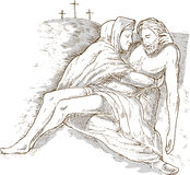 Mother Mary dead Jesus Christ. Hand sketch drawing illustration of Mother Mary and the dead Jesus Christ with the cross of Calvary in the background isolated on Stock Photography