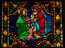 Mother Mary and Elizabeth. Stained glass window depicting the Visitation, the visit of Mother Mary with Elizabeth in the cathedral of Leon, Castille and Leon Royalty Free Stock Image