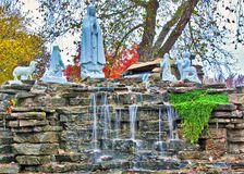 Mother Mary Fountain. A sacred fountain and pool at a monastery in central Illinois stock images