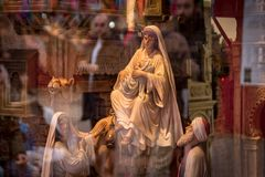 Mother Mary and Jesus figures. Mother Mary and Jesus figures from Christmas Belen diorama. Madrid, Spain royalty free stock photos