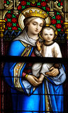Mother Mary and Jesus. Stained glass window with Mary and Jesus Royalty Free Stock Photography