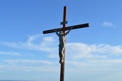 Jesus Christ of Nazareth the son of God on the crossstatue church religion Christianity Stock Photos