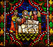 Mother Mary. Stained glass window depicting Mother Mary on her deathbed in the cathedral of Leon, Castille and Leon, Spain Stock Images