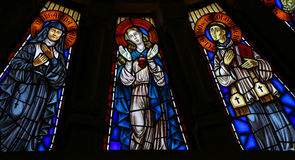 Mother Mary and two Catholic saints - Stained glass Royalty Free Stock Photos