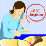 Mother measuring temperature to daughter. Illustration vector of lady mother measuring temperature to her ill daughter with high fever maybe due to the flu Stock Images
