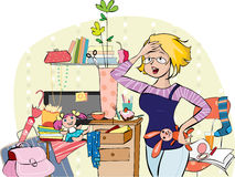 Mother in a messy room. Vector illustration of a young overhelmed mom trying to get together things in living room Stock Illustration
