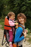 Mother mom with baby hiking